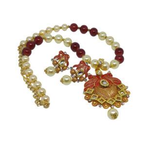 Kundan Pearl gold plated necklace set - Rangrasiya-Necklace-pearl-005