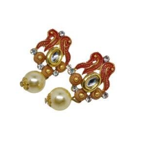 Kundan Pearl gold plated necklace set - Rangrasiya-Necklace-pearl-006